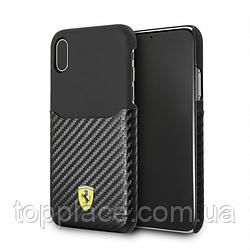 Защитный чехол Ferrari SF-Carbon Hard Case Slot для iPhone X Черный (IP4421023001)