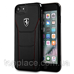 Накладка Ferrari 488 Hard для iPhone 8/7/6/6S из вставкой кожи Черный (IP4421023004)