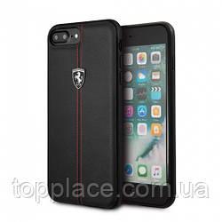 Накладка Ferrari для iPhone 8/7/6/6S из вставкой кожи Черный (IP4421023005)