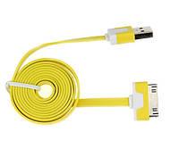 USB кабель плоский для Apple iPhone 4/4S Желтый
