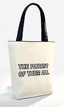"""Женская сумка """"The fairest of them all"""" Б350 - белая с черными ручками"""