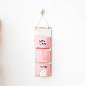 Органайзер настенный для хранения Розовый Медведь (56 х 20 см. / 3 ячейки) Berni