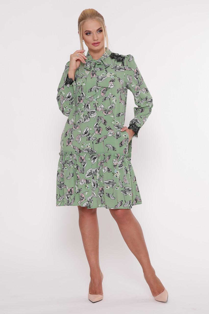 Платье с длинным рукавом Лея зеленое