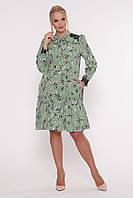 Платье с длинным рукавом Лея зеленое , фото 1