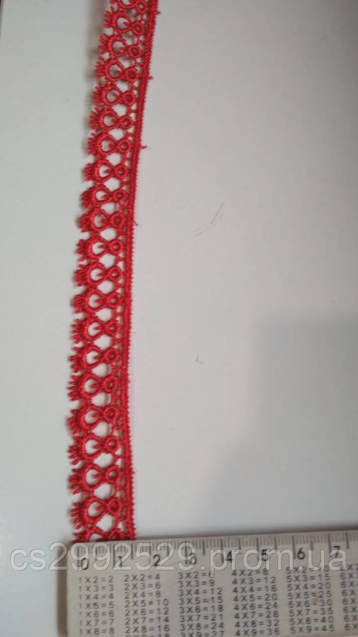 Кружево капелька 9 м красный. Кружево макраме петелька