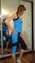 Спортивный костюм для зала Issa Plus 1810 бриджи и борцовка черный с голубым, фото 3