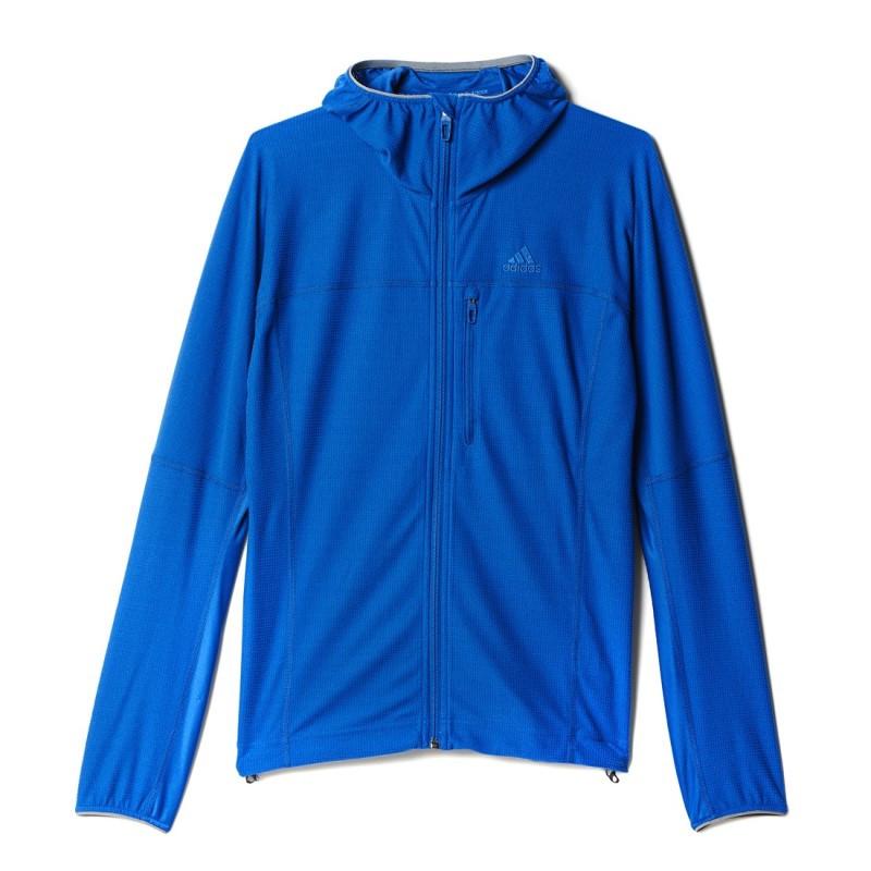 Толстовка спортивная мужская adidas TS 37.5 HO FL J AI2072 (синяя, на молнии, для тренировок, логотип адидас)