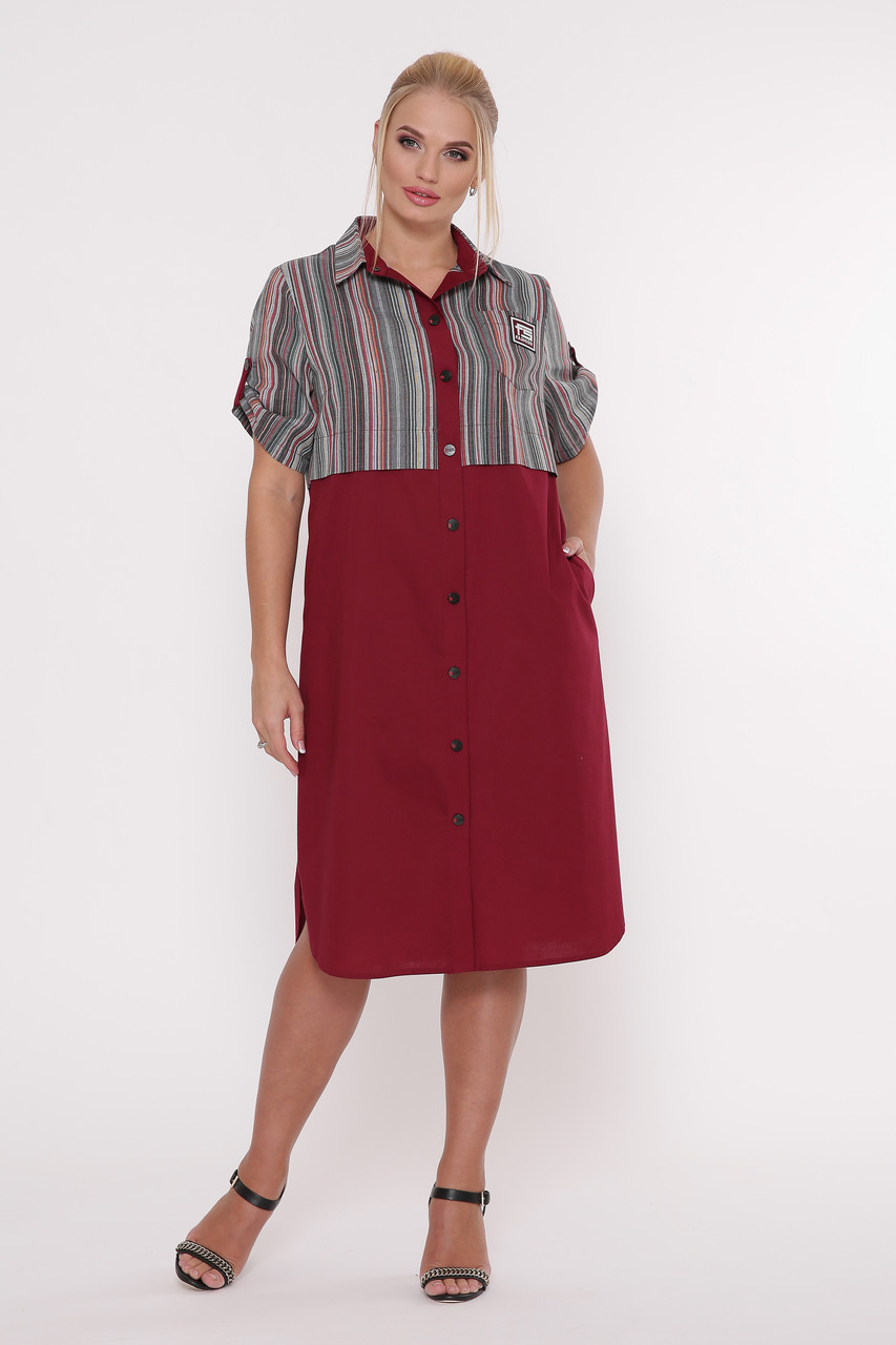 ed95004fc5c24b6 Платье-рубашка Лана Бордо 58 — в Категории