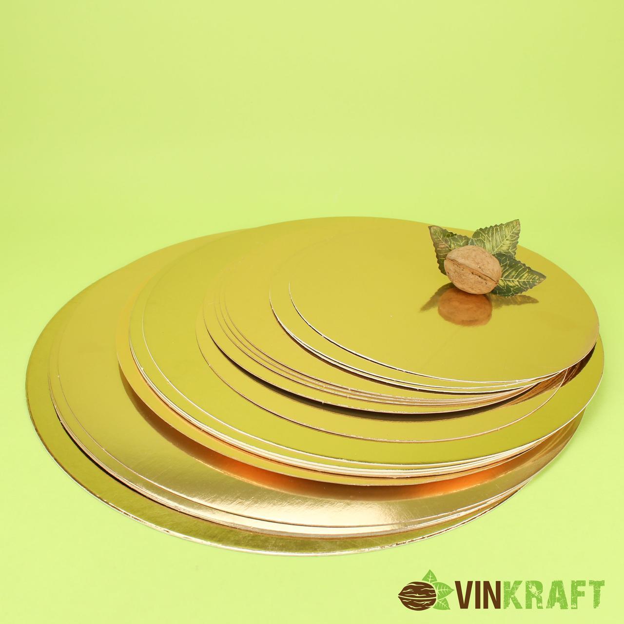 Підложка  d=380 мм (1 мм) під торт, золото-срібло