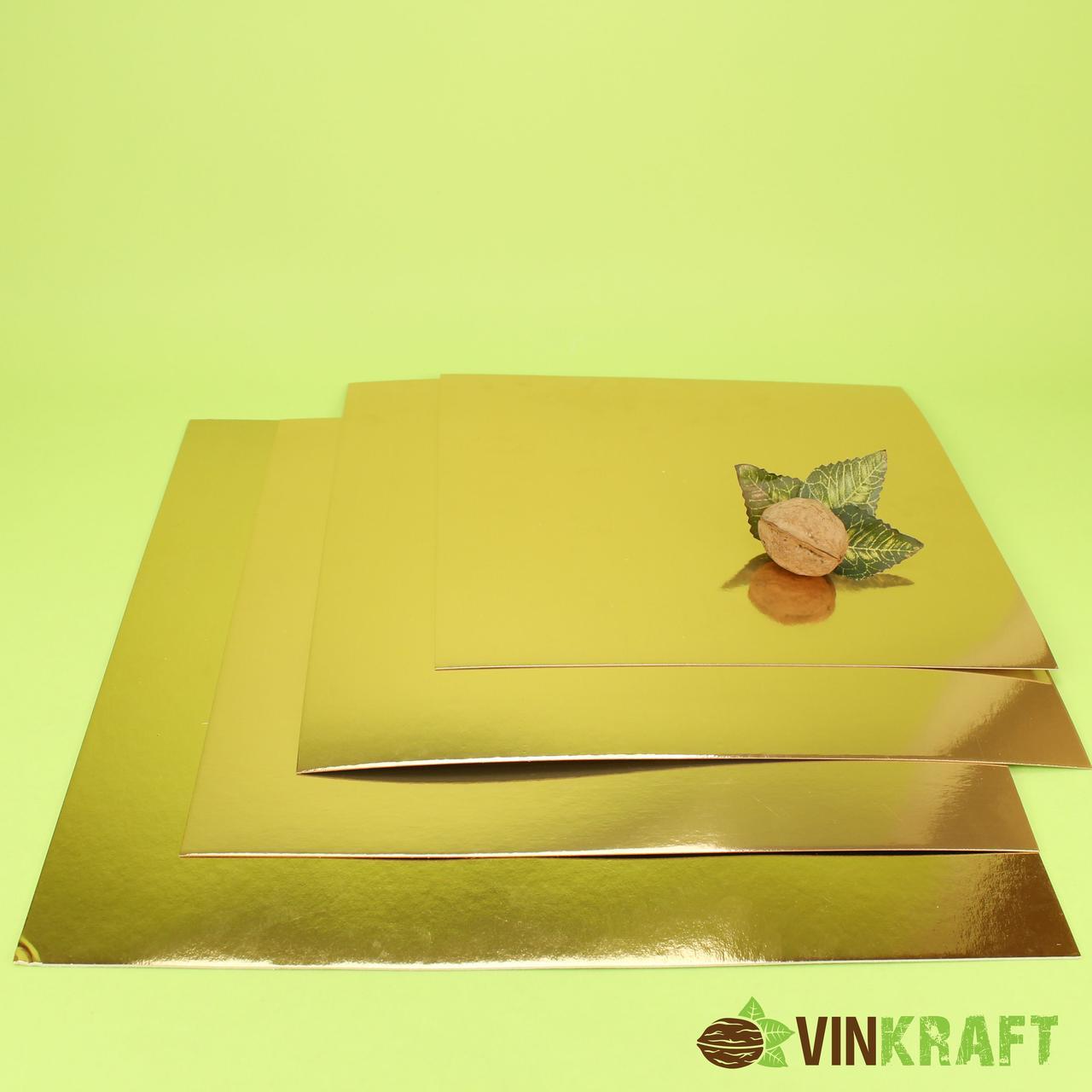 Підложка 445*445 мм (1 мм) під торт,  золото-срібло