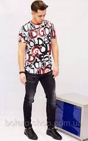 Футболка мужская Dolce&Gabbana белая с рисунком, фото 2