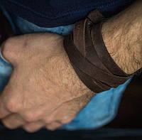 Браслет кожаный мужской mod.OldCraft 140 коричневый 6 вит., фото 1