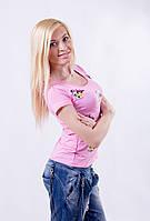 Футболка женская  с наклейкой  розовая, фото 1