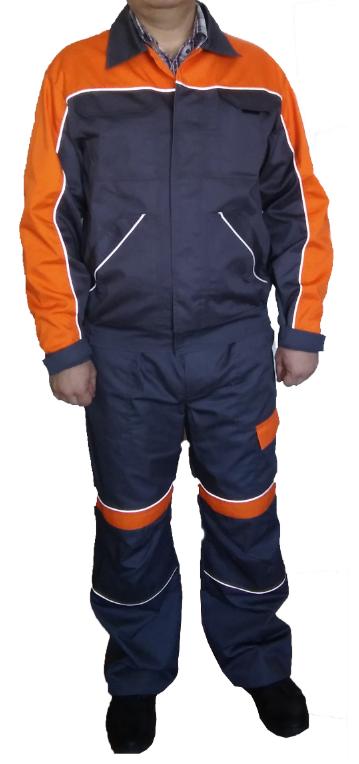 Полукомбинезон и куртка, саржа смесовка, серый с оранжевым