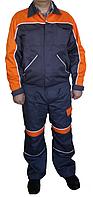 Полукомбинезон и куртка, саржа смесовка, серый с оранжевым, фото 1