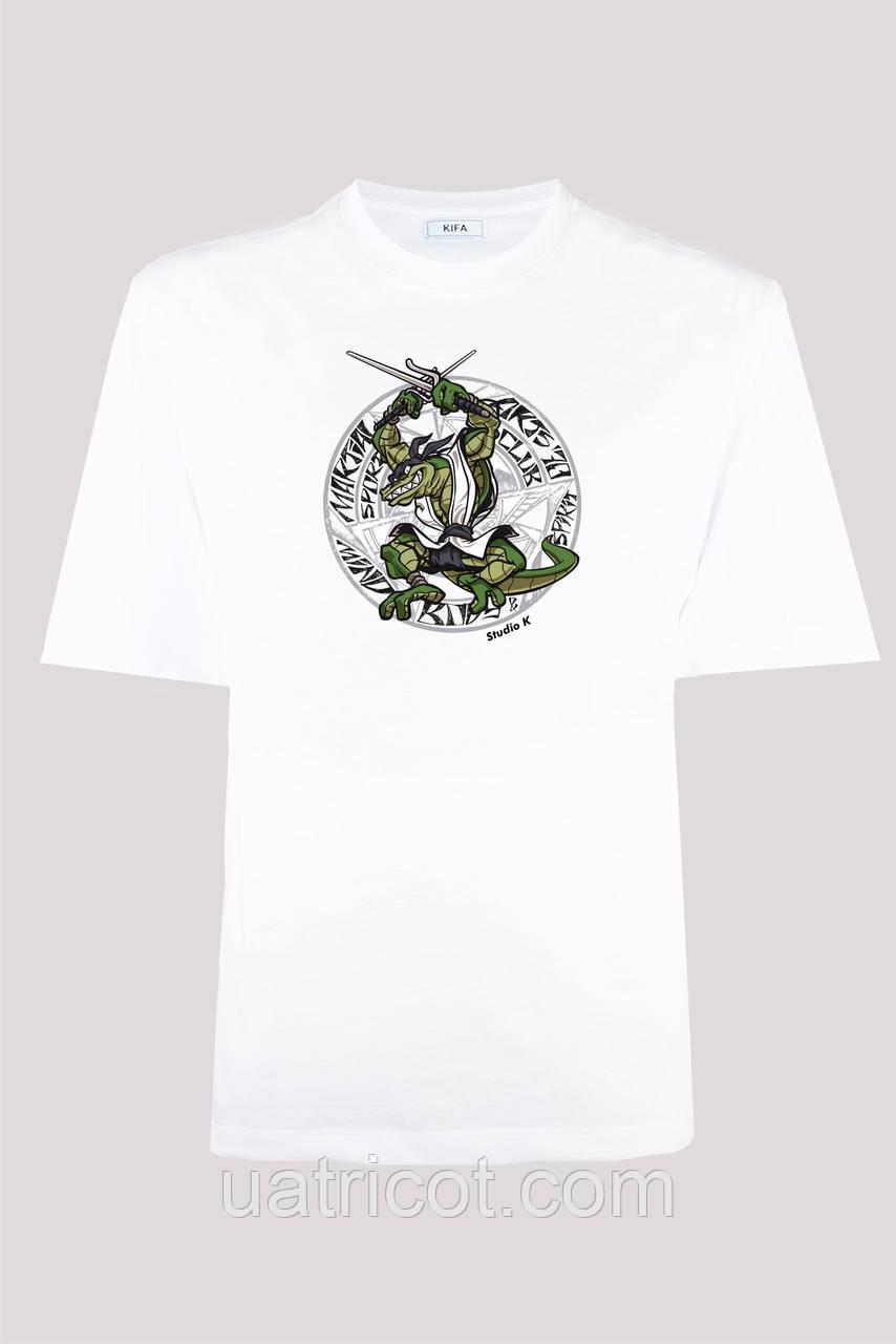 Футболка мужская KIFA ФМХ-019/15 crocodile ninja белая
