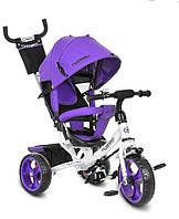 Трехколесный велосипед с ручкой фиолетовый TURBOTRIKE, фото 1