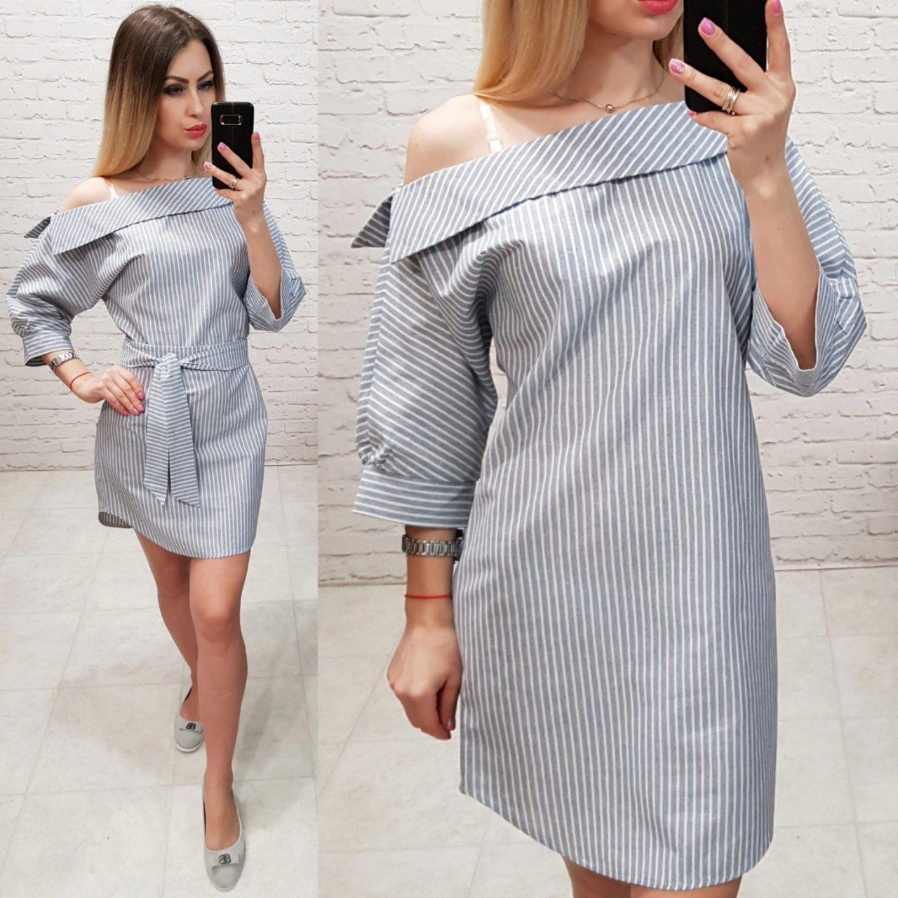 b23a58f3f70 Платье летнее льняное 161 белое в серую полоску - Интернет магазин женской  одежды Khan в Одессе