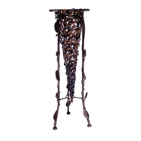 Стойка для зонтов, металл/плетенный пластик, коричневый, фото 2
