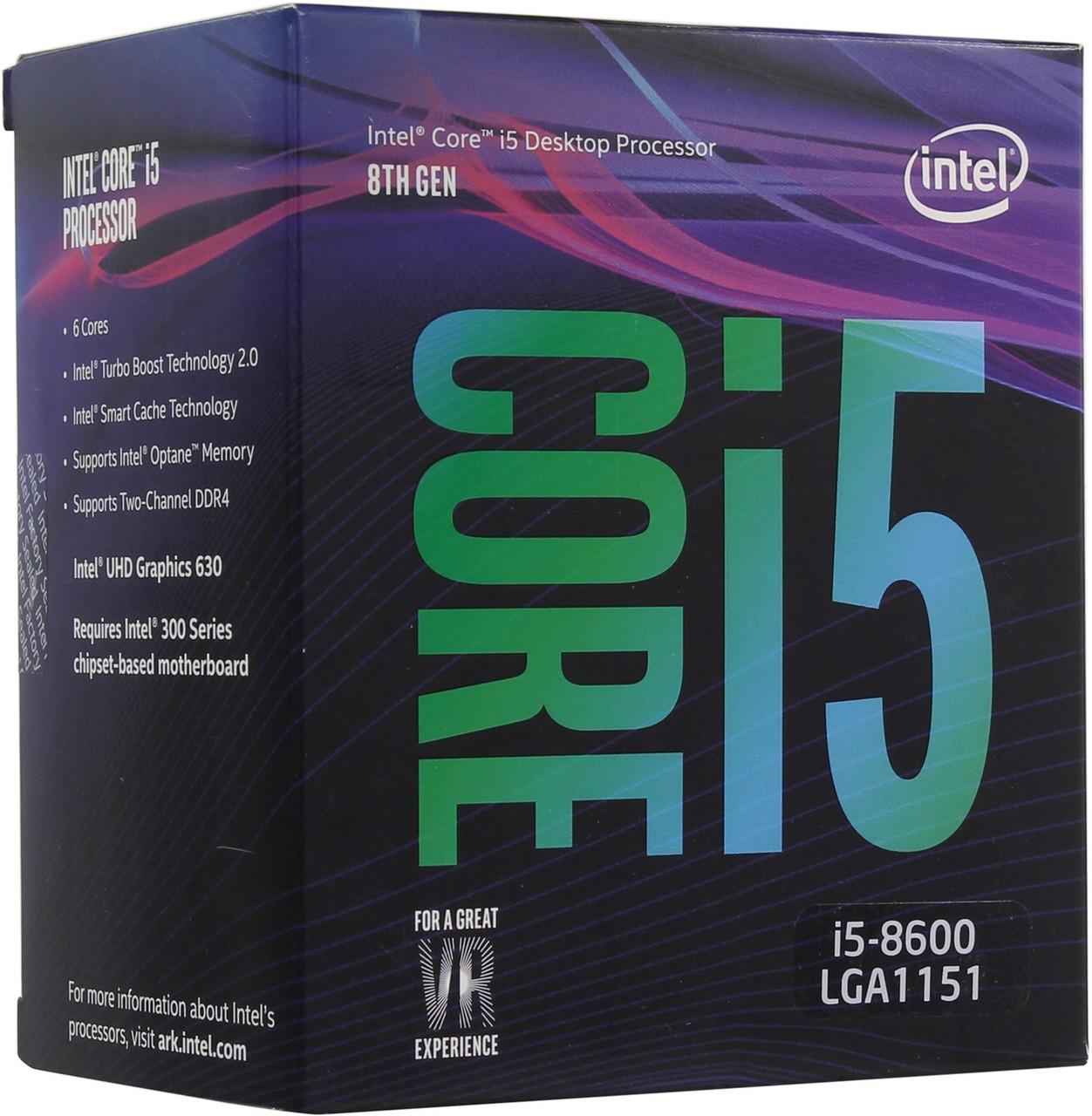 Процессор Intel I5-8600 (3.10-4.30GHz, 9MB, LGA1151, DDR4-2666) BOX