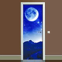 Наклейка на двері Космос (повнокольоровий фотодрук, плівка для дверей, декор дверей)