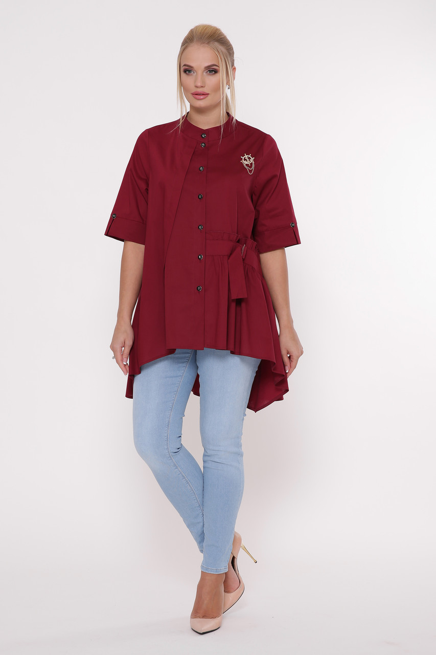 Рубашка женская Уля  бордо