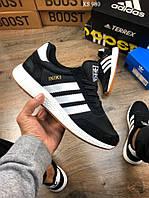 Мужские кроссовки Adidas Iniki Runner (черно/белые) KS 980