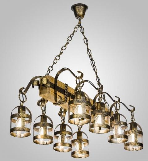 Люстра кантри фонари AR-004695 подвесная деревянная