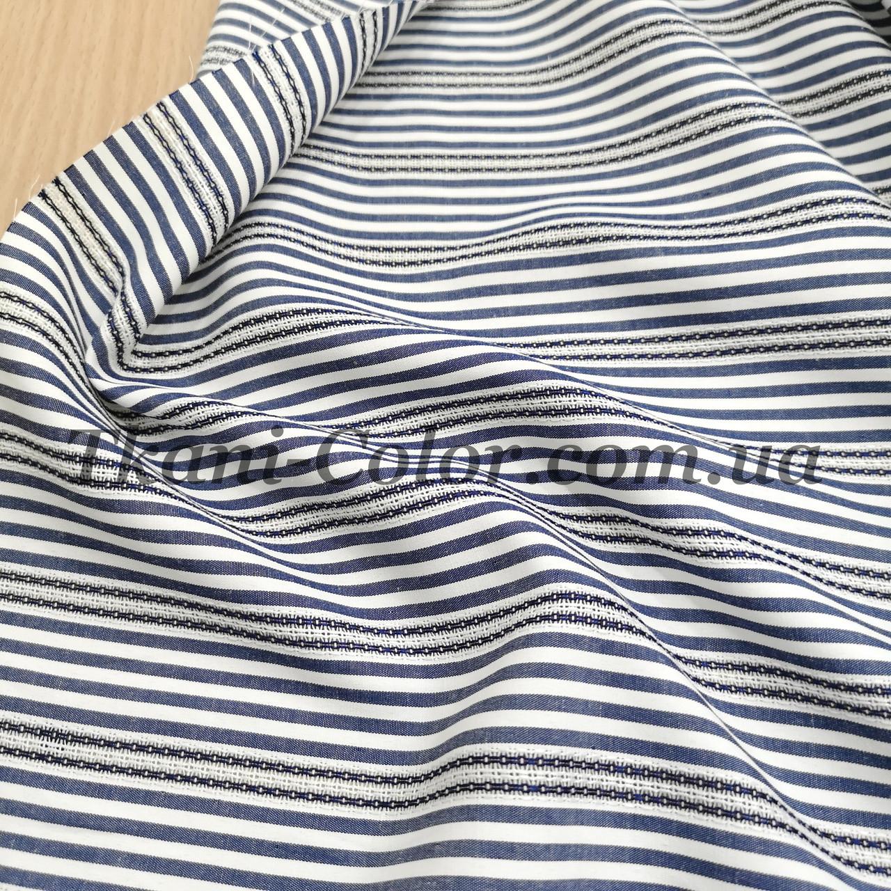 Рубашечная ткань полоска с вышивкой синий