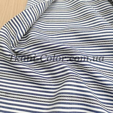 Рубашечная ткань полоска с вышивкой синий, фото 2
