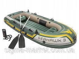 Трехместная надувная лодка Intex 68380 + весла + насос