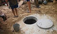 Канализация под ключ в Киеве и Киевской области. Доставка бетонных колец машиной с манипулятором.