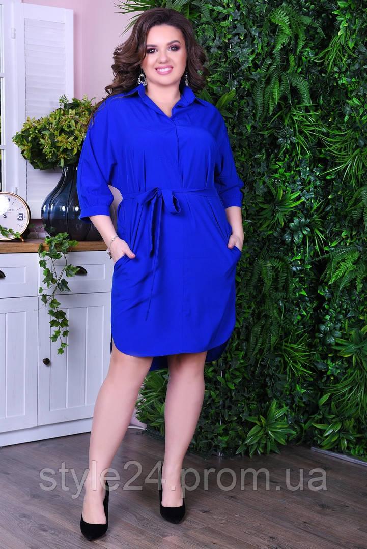 Батальне плаття-рубашка з поясом.Р-ри 46-60