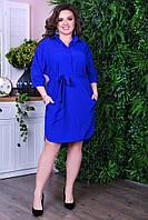 Батальне плаття-рубашка з поясом.Р-ри 46-60, фото 1
