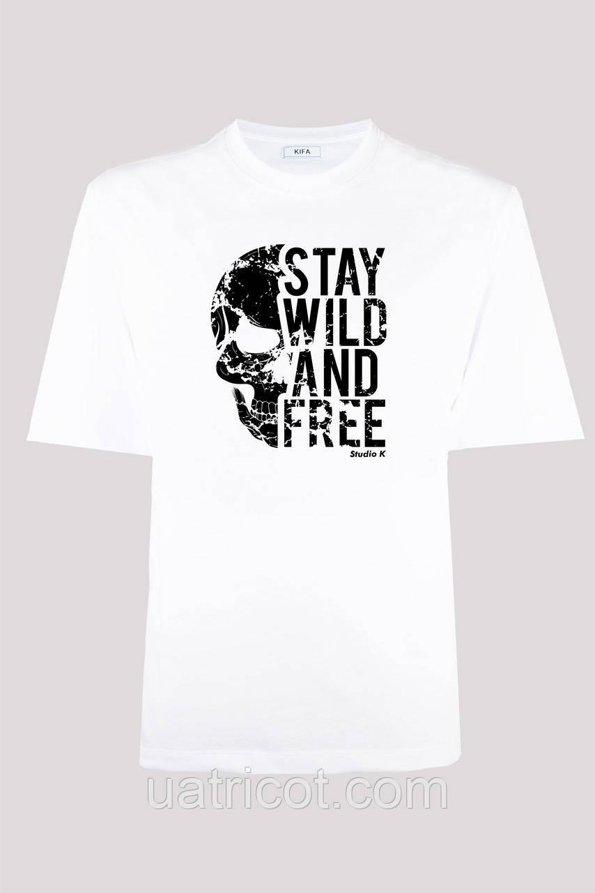 Футболка мужская KIFA ФМХ-019/15 STAY WILD AND FREE белая