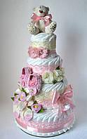 """Торт из памперсов """"Пупсику"""" 120 подгузников с пинетками и повязкой, фото 1"""