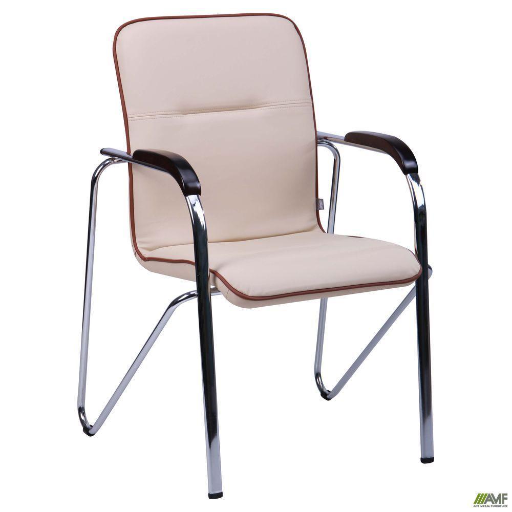 Стул-кресло АМФ Самба хром орех кожзам бежевый с кантом