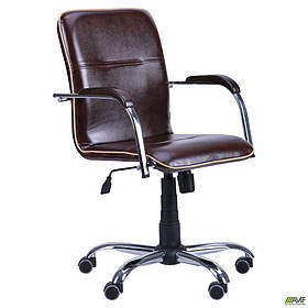 Офісне крісло AMF Самба-RC Хром горіх кожзам-коричневий з кантом