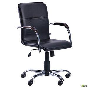 Офисное кресло АМФ Самба-RC черное Хром на колесиках с деревянными подлокотниками - орех