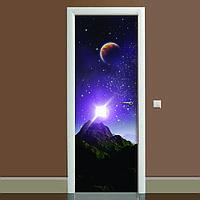 Наклейка на дверь Космос 03 (полноцветная фотопечать, пленка для двери, декор двери)