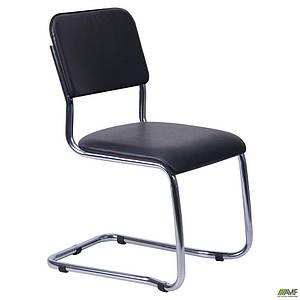 Офисный стул AMF Квест хром мягкое сидение кожзам черного цвета