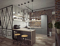 Кухня серая в стиле лофт  Новинка 2020