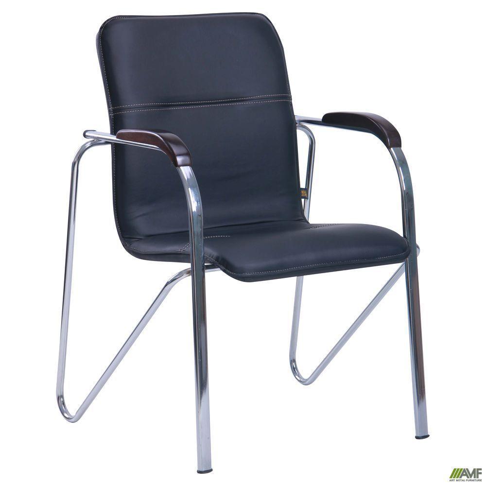 Офисное кресло-стул АМФ Самба хром орех черного цвета без канта