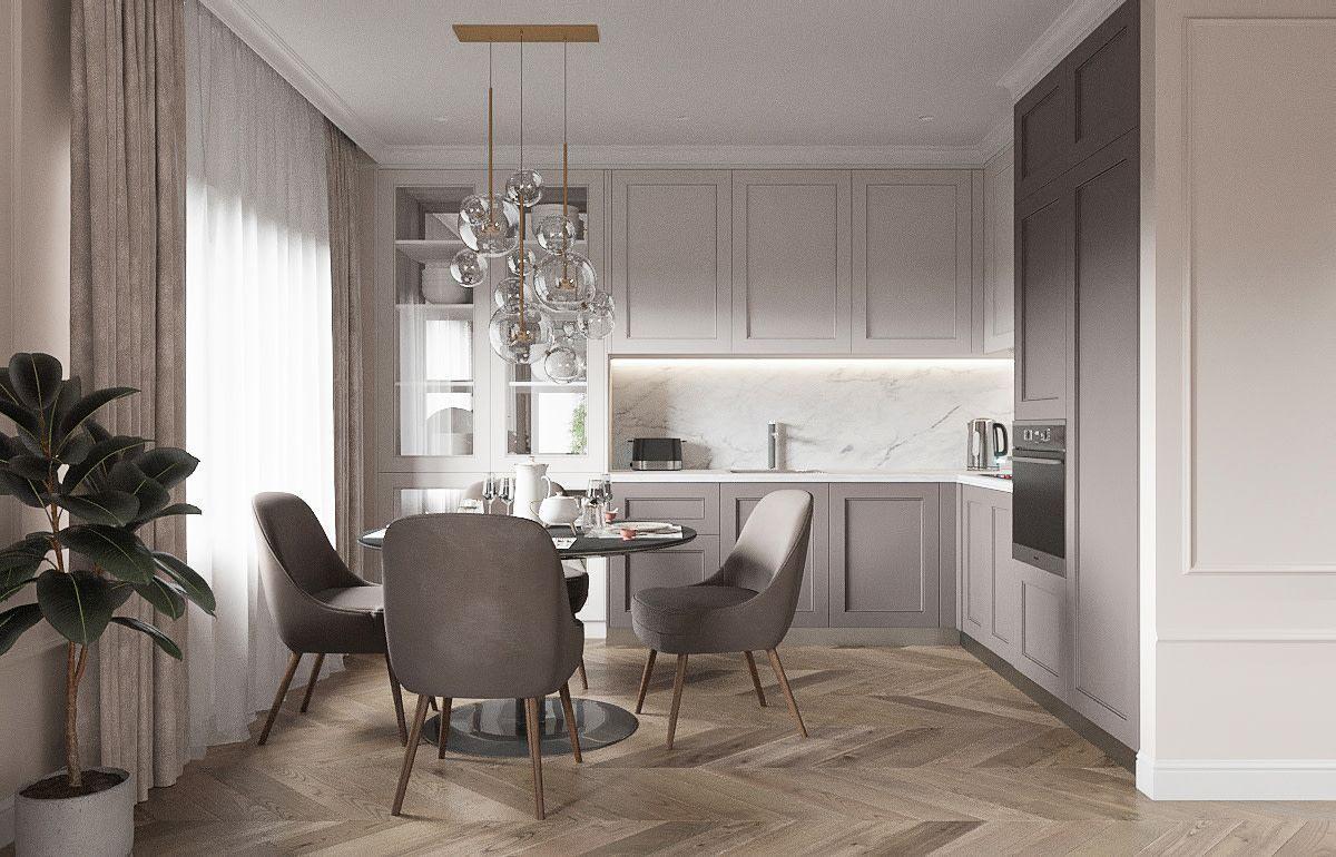 Кухня в стиле современная классика с фрезерованными фасадами без ручек