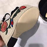 Босоножки Гуччи плетение с цветами, натуральная кожа , фото 2