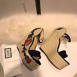 Босоножки Гуччи плетение с цветами, натуральная кожа , фото 4