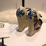 Босоножки Гуччи плетение с цветами, натуральная кожа , фото 8