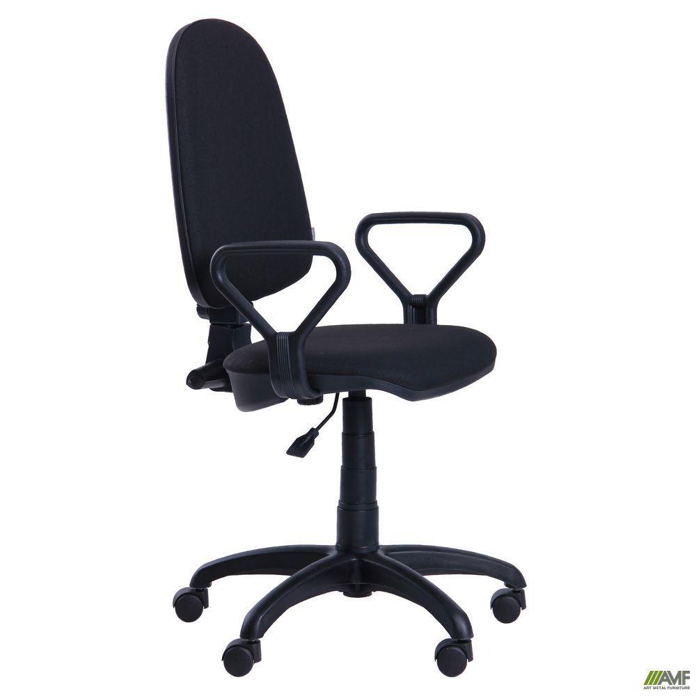 Офисное кресло АМФ Престиж Люкс 50/А-1 с подлокотниками, черное