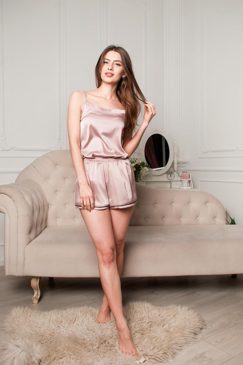 Атласная пижама цвет пудра