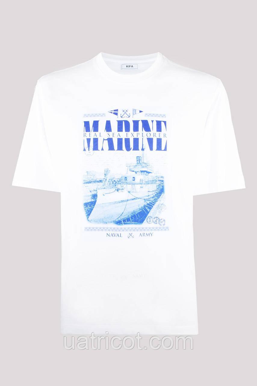 Футболка мужская KIFA ФМХ-019/15 MARINE REAL SEA EXPLORER белая